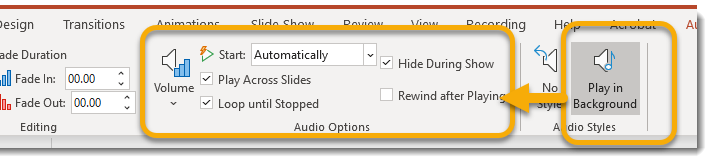 Audio styles group makes changes to audio options