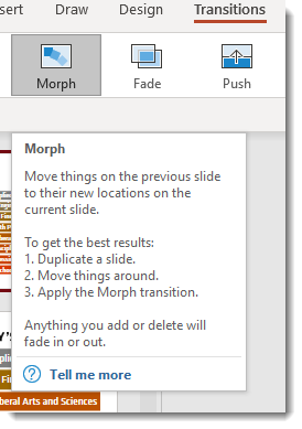 Transitions Tab, Morph Instructions