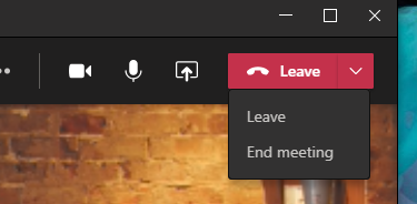 Leave and end meeting options