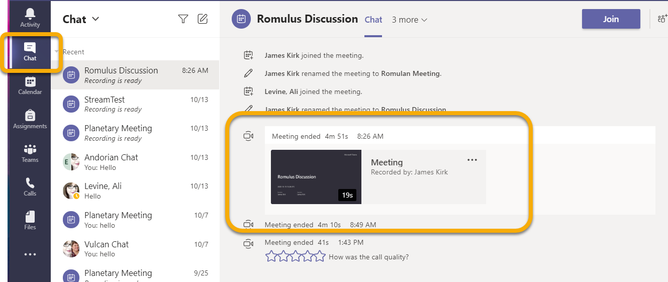 Chat, meeting recording visible