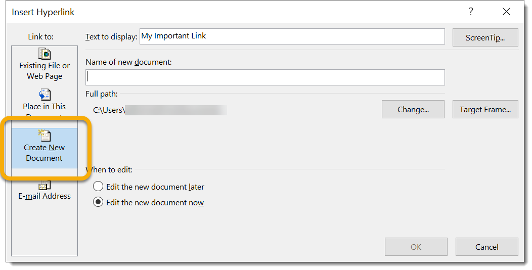 Create New Document Prompt