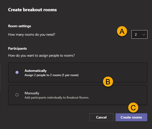 Create breakout rooms prompt with room settings
