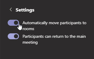 Settins: Automatically move participants, and option to allow them to return to the main meeting