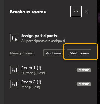 Start rooms prompt