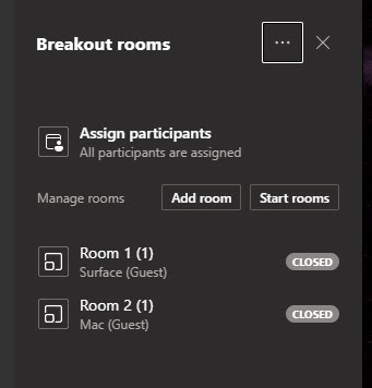 Breakout rooms screen