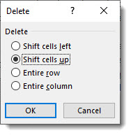 Shift cells up selected