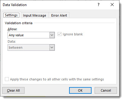 Data Validation Screen