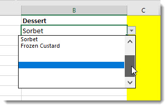 Dropdown list slider