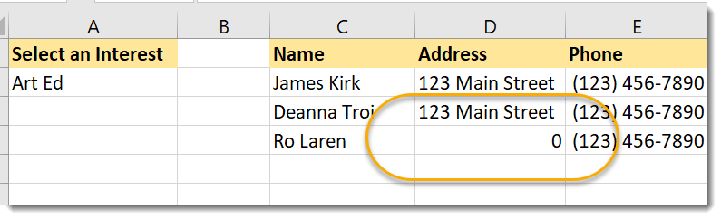 0 in address column