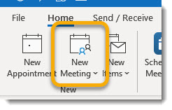 New Meeting button in Outlook