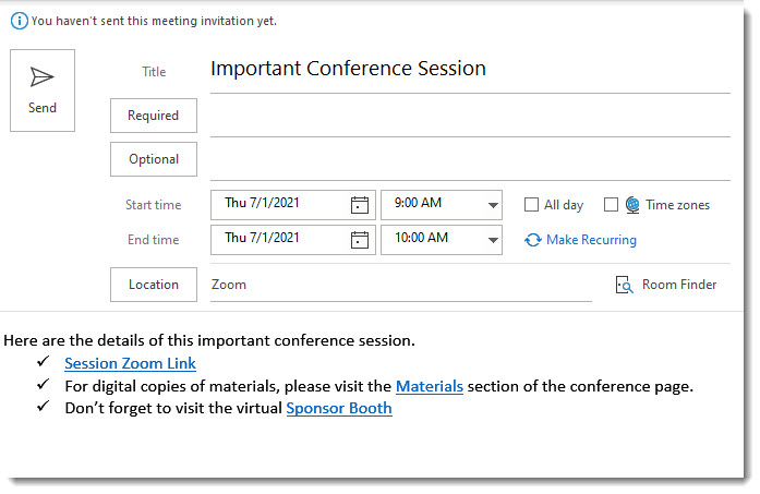 Meeting details completed in an Outlook invitation