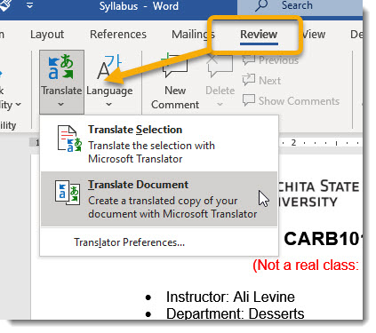 Review tab, Translate dropdown, Translate Document selected