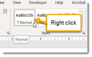 Right click on Normal style